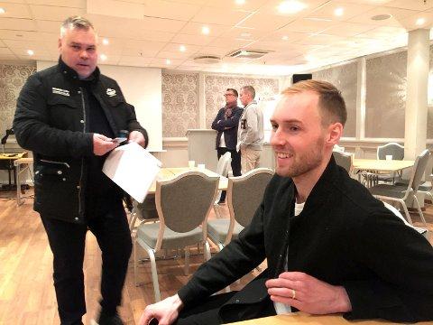 SJEFEN: Leif Strömberg (til venstre) har valgt Micahel Eskesen som sin kaptein for sesongen 2017/18. Foto: Erik Hagen