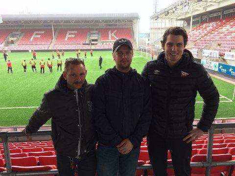 MOBILISERER: Bjørn Thon (til venstre), Mathias Solvang og Joachim Heier håper det blir folksomt på Stadion på 16.mai. Foto: Vidar henriksen