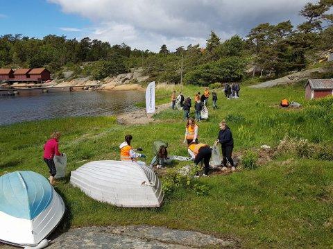 STÅR PÅ: 418 elever var med Kystlotteriet ut i bekker og bukter for å rydde da Verdenhavsdagen ble markert torsdag.