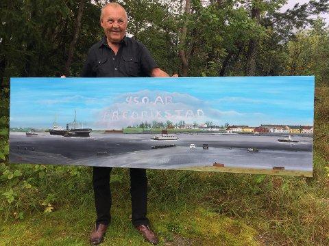 – Dette maleriet er mitt bidrag til byjubileet, sier Harry R. Glosli.