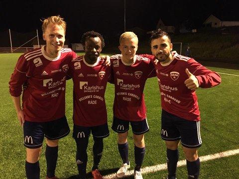 Reiste seg: Jon-Andre Fredriksen (2), Julius Adaramola, Tobias Eugen Guttulsrød og Keywan Ahmadi scoret målene for Råde mot Rakkestad.