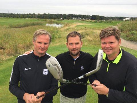 Erik Hæren (til venstre) og  André Jauert (til høyre) har prikket storformen til FB Open, selv om klubbpro Christoffer Halvorsrød mener begge har litt å jobbe med hva gjelder svingen.