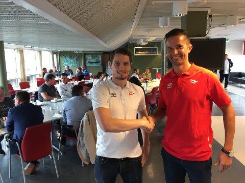 Mange avtaler i boks: Joacim Heier og Lars Petter Brovold har all grunn til å smile bredt etter å ha fått en fabelaktig respons blant klubbens støttespillere.