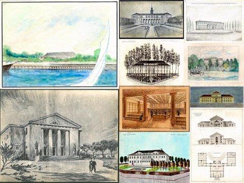 ALTERNATIVENE: Her ser du hvordan Fredrikstad bibliotek kunne ha blitt seende ut. Disse forslagene var med i en arkitektskonkurranse.