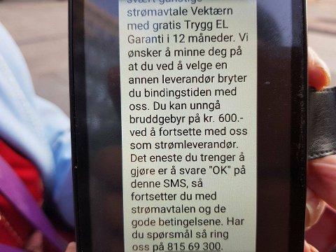 FIKK MELDING: SMS-meldingen fra strømselskapet sier at Gerd Rønstad får 600 kroner i bindingsbrudd ved å bytte leverandør.