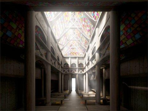 Inspirasjon: Håpets katedral skal bygges etter inspirasjon fra norske stavkirker. Bildet viser  en foreløpig illustrasjon som arkitektene nå jobber videre med. Illustrasjon: Helen & Hard