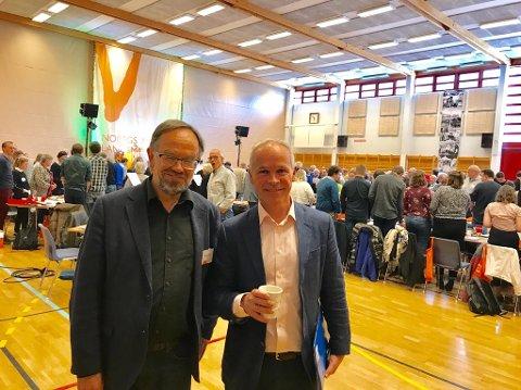 LOVTE BEDRING: Kunnskapsminister Jan Tore Sanner var til stede på møtet i helga, og han lovte at digitale læremiddel i framtiden skal komme samtidig og til samme pris på bokmål og nynorsk.
