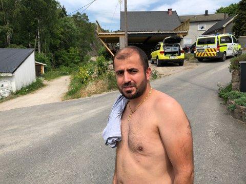 KASTET SEG UTI: Nabo til Bingedammen, Charli Adam, var blant dem som kastet seg uti vannetfor å redde gutten.