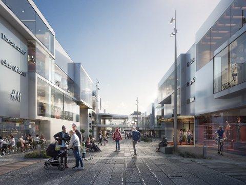 Gågate: Fra det foreslåtte torget foreslås det at Brochs gate mellom de to kjøpesenterbyggene blir gågate ned til resten av sentrumskjernen.