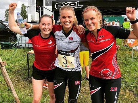 GULL-TRIO: Ingrid Lundanes, Marie Olaussen og Ingeborg Eide kunne slippe jubelen løs etter lørdagens stafettgull.