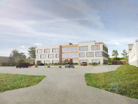 SLIK BLIR DET: Hvis alt klaffer, kan de ansatte på hovedkontoret i Solid Gruppen flytte inn i dette bygget i slutten av 2019 i Bjørnengveien i Rolvsøy. Nybygget vil få plusshusstandard.