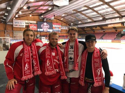 VAKTER: Jonathan Hermansson (til venstre), Sander Rønnild, Filip Sund og Isak Billett stiller søndag som vakter på Stadion.