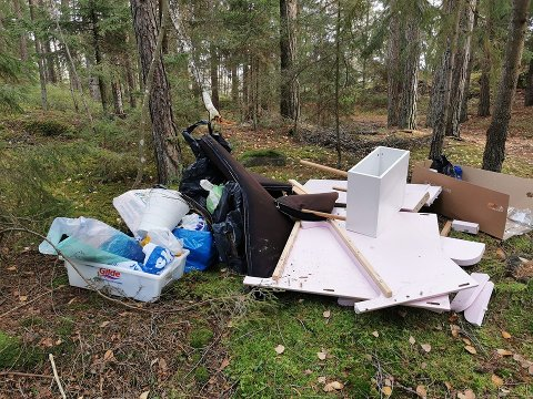 I NATUREN: En pappeske fra en dagligvareleverandør var påført en navnelapp, noe som gjorde eieren av søpla lett å oppspore. Han hevdet at det var en annen person som hadde påtatt seg oppdraget med å frakte søppellasset til fyllinga.