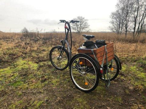 Merkelig funn i fjæra: Noen savner sikkert denne el-sykkelen, men det er uvisst hvem. Are Grønsund i Naturvernforbundet fant den i sivbeltet på Øra.
