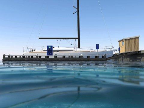 skrogvask: Tegning på skrogvaskeanlegget som nå skal testes på Hurumlandet.