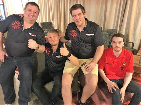 HJEMMEHÅP: Fredrikstad-laget Plankebyen. F. v. Mark Rhoades, Alexander Braseth, Anders Strandlie (kaptein) og Hans-Joachim Linnerud Eng.