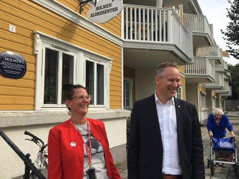 I valgmodus: Helene Apenes Matri og Jon-Ivar Nygård lanserer satsing på flere omsorgsboliger som på Holmen før kommunevalget.