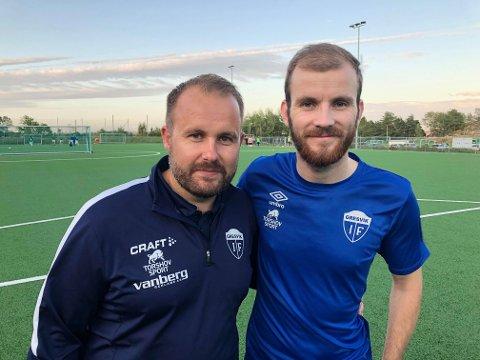 SPENT: Gresvik-trener Mads Vallestrand (til venstre) og kaptein Mathias Karlsen må trolig vente ytterligere en måned på seriestarten.