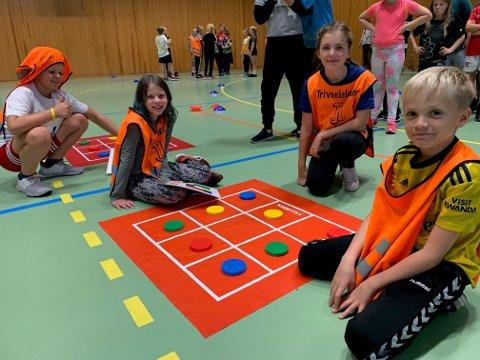 Populært spill. «Rubiks matte» er en aktivitet som kan brukes i skolegården. Her må to og to elever samarbeide om hvilken brikke det er «lurt» å flytte slik at man blir først ferdig.