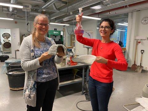 Professor i materialteknologi Anna-Lena Kjøniksen (tv) og førsteamanuensis Shima Pilehvar ved Høgskolen i Østfold med månestøv og urea som de bruker i framstillingen av månebetong.