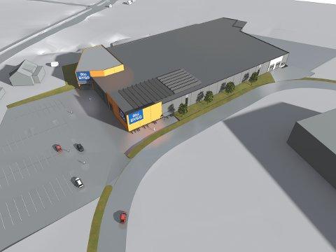 Dette byggevarehuset på 8.300 kvadratmeter på Ørebekk håper Coop å få tillatelse til å sette opp så fort som mulig. Det er Obs Bygg som skal inn i bygget.