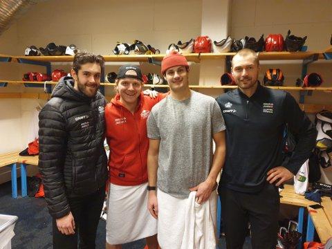 Denne firerbanden gjorde til sammen 15 poeng mot Narvik. Daniel Leavens (fra venstre), Andreas Heier, bursdagsgutten Andrew O'Brien og Magnus Eikrem Haugen var alle helt sentrale i 6-4-seieren.
