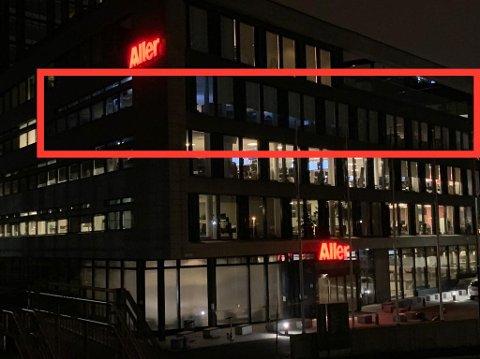 SMITTEFRYKT: Lysene var slukket i fjerde etasje i det store Aller-bygget denne helgen. Det er der Se og Hørs redaksjon har tilhold.