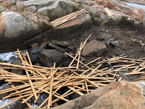 MYE PLANK: Andre Appelgren dokumenterte funnet av store mengder planker tidligere denne uka. Mest fant han i området rundt Viker på Asmaløy, men han fant også en del ved Kuvauen og Guttormsvauen på Vesterøy.