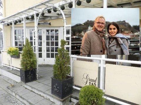 AVVENTER ÅPNING: Per Sandberg og Bahareh Letnes har måtte utsette åpningen av den «nyervervede» Grand bar. Det ser dog tilsynelatende ut til at paret skal være mer enn klare til åpning.