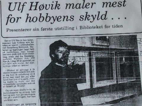 Faksimile fra Sarpsborg Arbeiderblad i 1976, da Høvik gjennomførte sin debututstilling der alle bildene ble solgt.