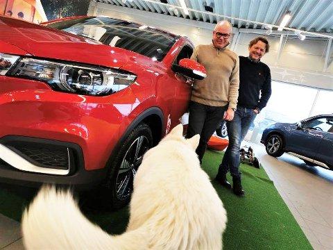 BESTSELGENDE: Gutta i Fredrikstad Autocenter, Rune Hegstad og Martin Gjølberg, har fortjent å logre med halen. De er nemlig forhandler av bilmodellen som solgte best i Fredrikstad i 2020.