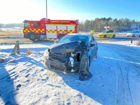 Trafikkulykken har skjedd på Oltidsveien i Skjeberg.
