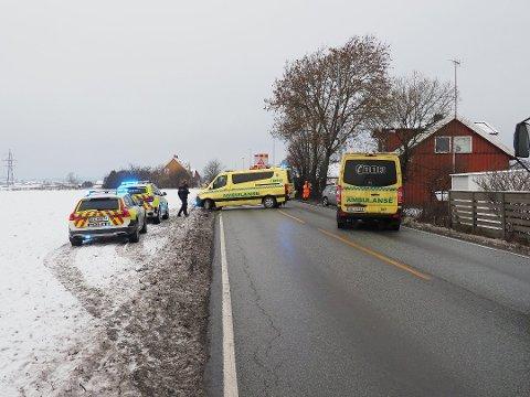 Ulykke på Sarpsborgveien ved Vesten mandag formiddag.