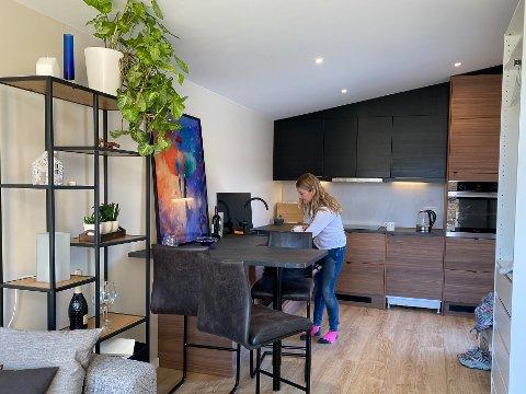De 38 kvadratmeter store husene inneholder kjøkken, bad, soverom og oppholdsrom. Denne har noe tilpasset kjøkken etter kundens ønske.