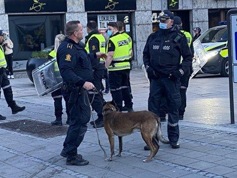Politiet rykket ut med både hunder, skjold og våpen i forbindelse med bråket på Stortorvet og i sentrum 17. mai.