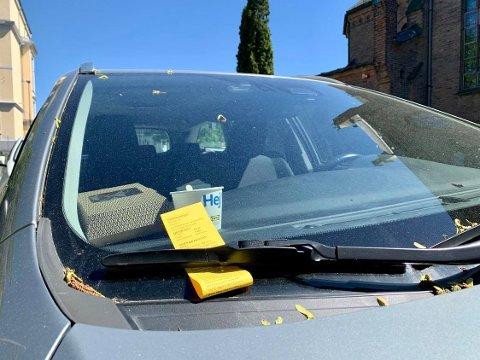 GUL: Mange våknet til slike gule lapper på bilruten på Kampen fredag.