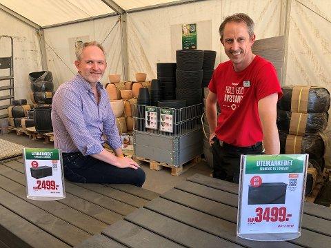 Leder for digitale prosjekter i Europris, Lars Ove Davidsen og butikksjef Europris i Dikeveien, Morten Mjelde, er spent på erfaringene med selvbetjening i utemarkedet.