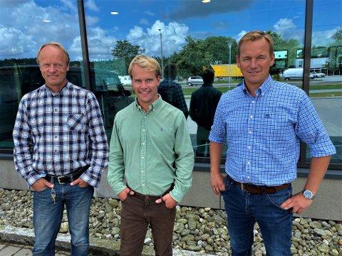 Trekløveret som skal bygge en av Europas største næringsparker, nær E6 i Fredrikstad, fra venstre Carl Haakon Garder, Carl-Stener Garder og Knut Magnus Hvidsten.