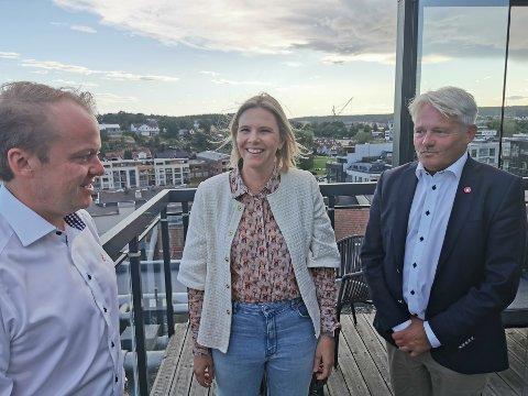 Erlend Wiborg, Sylvi Listhaug og Bjørnar Laabak møttes lrødag for å sette i gang valgkampinnspurten.