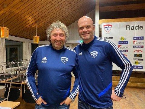 Fotball-leder Knut Erik Berg (t.v) og hovedtrener Jan Tore Ophaug har all grunn til å smile bredt etter sesongens tre første kamper.