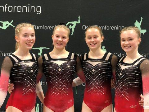 Tilde Myrene, Aurora Walen Arnesen, Nora Norvang Dalene og Amalie Norvang Dalene er veldig fornøyd med helgens prestasjoner i Unni og Haralds Pokal.