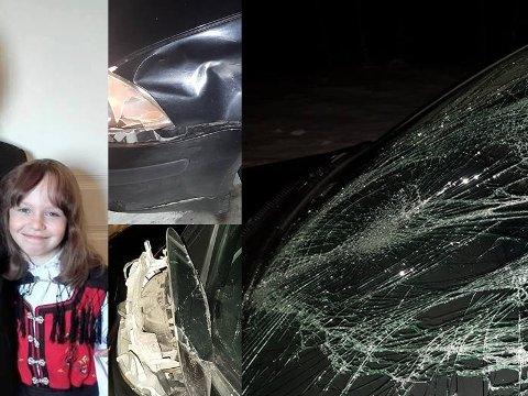 LÅ OG SOV: Therese (12) sov i bilen da pappa Stig Olsen kolliderte meg elgen. Alle foto: Stig Olsen.