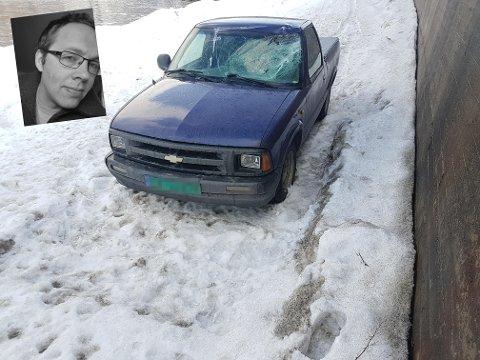 Slik ser bilen Oddmund kjørte ut etter kollisjonen med ei elgku.