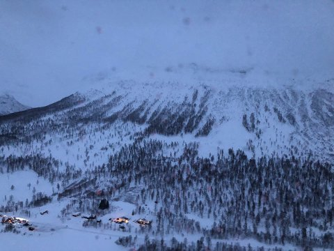 Snøskredet i Blåbærfjellet i Tamokdalen.
