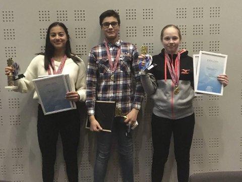 KM-vinnere alpint 2019. Nora Hall, Sander Tollefsen og Adriane Steinsvik