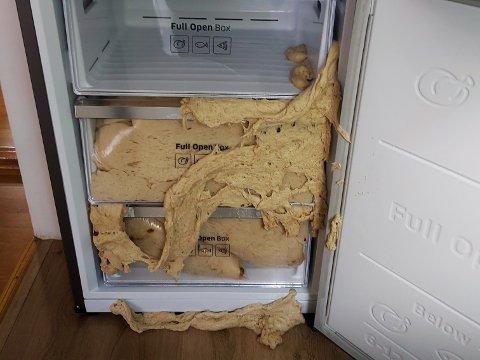 FULLT I FRYSEREN: Bolledeigen har tatt over to skuffer i fryserdelen av kjøleskapet.