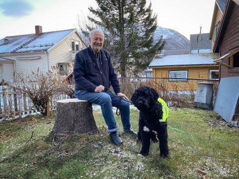 STAS: I hagen til Helge Hagen og hunden Bror står bare stubben igjen etter at kommune hentet årets julegran onsdag morgen. – Det er stas å kunne gi bort julegrana, sier Hagen.