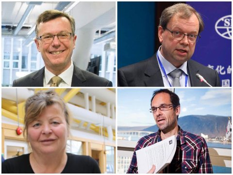 REKTOR: Fra venstre oppe: Dag Rune Olsen, Kenneth Ruud, Edel Oddny Elvevoll og Jan-Gunnar Winther. En av disse går inn i rollen som rektor på UiT 1. august 2021.