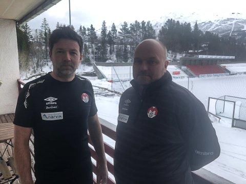 USIKRE: Frank Aanes Andersen og Stig Henriksen vet ikke om de kommer til og måtte permittere noen, men for øyeblikket lønner Mjølner samtlige etter avtale.