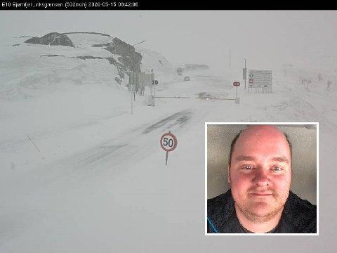 STENGT: E10 Bjørnfjell har vært stengt i vel fem timer fredag. Det får konsekvenser for lastebilsjåfør Esben Andre Isaksen (33).